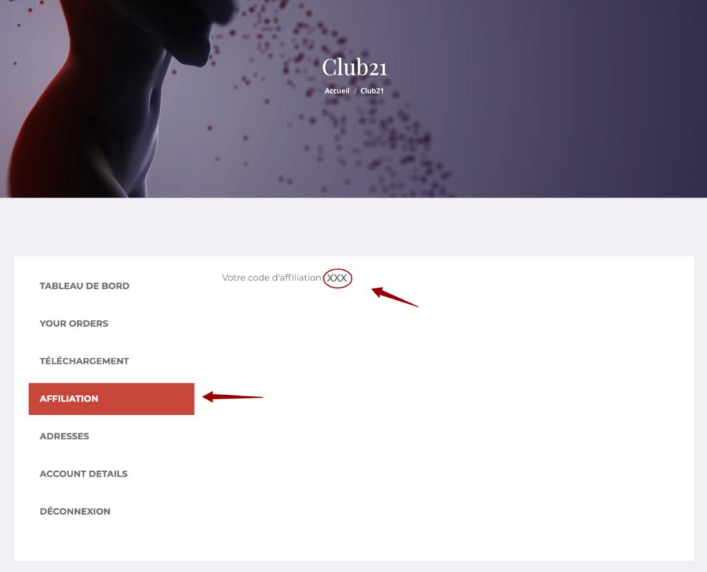 Capture d'écran du tableau de bord de la boutique en ligne